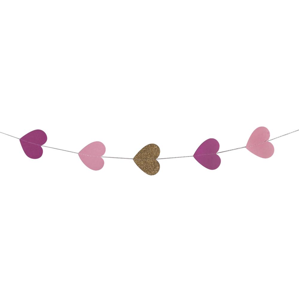 Papier-Girlande Herzen, 5cm ø, 2m, farblich sortiert, SB-Btl 1Stück, pink/rose/gold Glitter