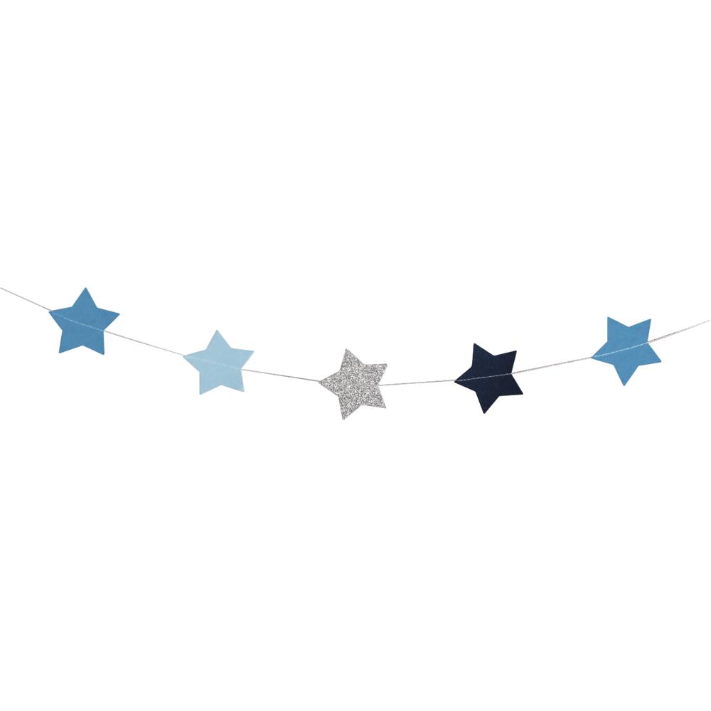Papier-Girlande Sterne, 5cm ø, 2m, farblich sortiert, SB-Btl 1Stück, blau-Töne/silber Glitter