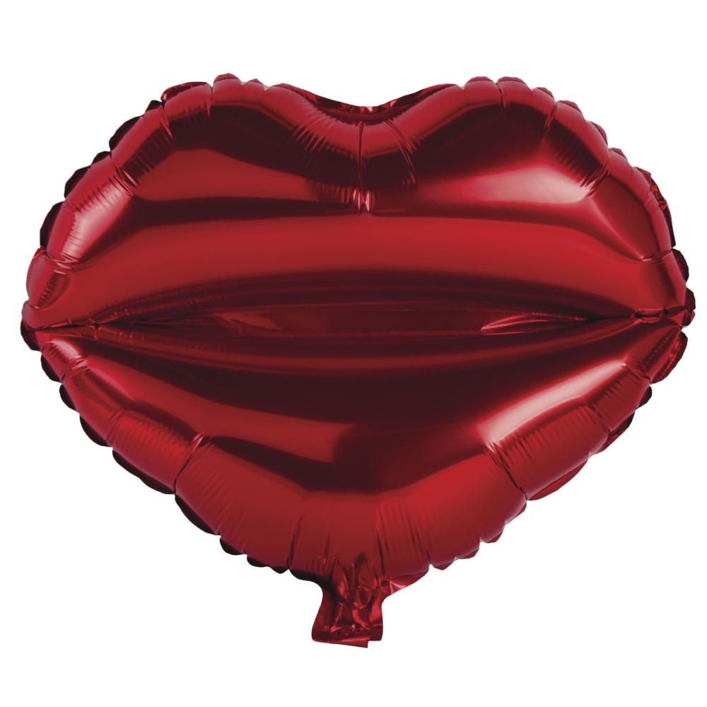 Folienballon Kussmund, 46x51cm, SB-Btl 1Stück, klassikrot