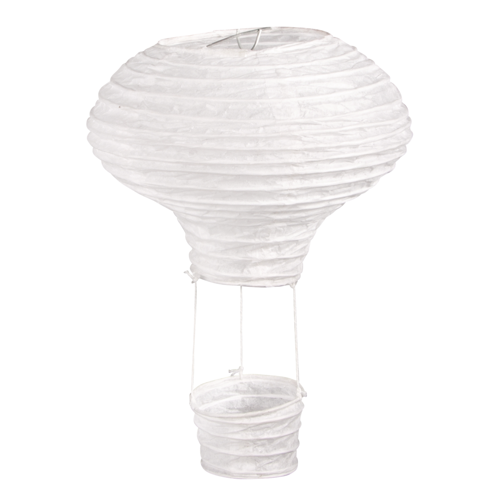 Papierlampion Heißluftballon, 15cm ø, 23cm, m. Metallgestell, Beutel 2Stück, weiß