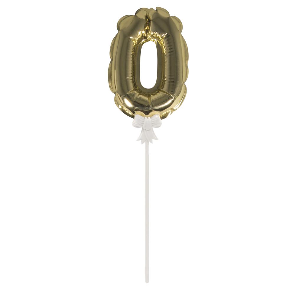 Folienballon Topper Zahl 0, Ballon 13cm +Stecker 19cm, SB-Btl 1Stück, gold