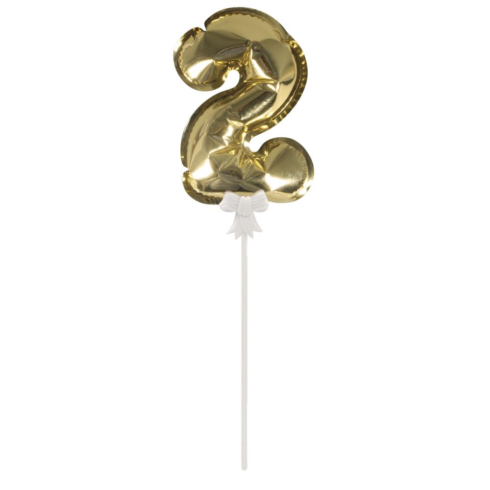Folienballon Topper Zahl 2, Ballon 13cm +Stecker 19cm, SB-Btl 1Stück, gold