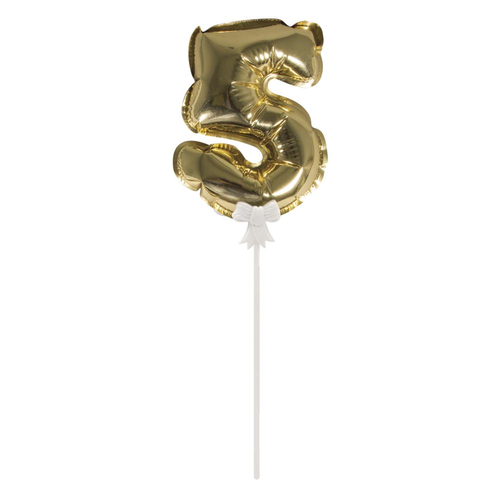 Folienballon Topper Zahl 5, Ballon 13cm +Stecker 19cm, SB-Btl 1Stück, gold