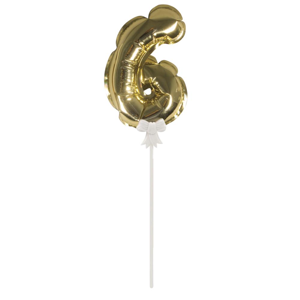 Folienballon Topper Zahl 6, Ballon 13cm +Stecker 19cm, SB-Btl 1Stück, gold