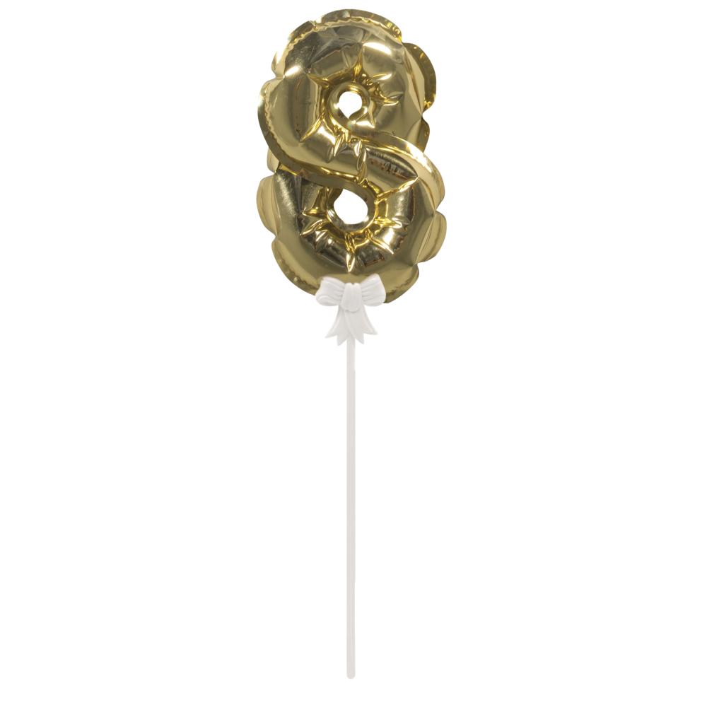 Folienballon Topper Zahl 8, Ballon 13cm +Stecker 19cm, SB-Btl 1Stück, gold