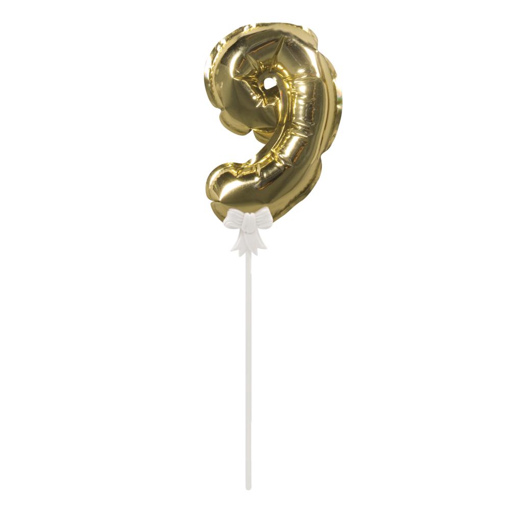 Folienballon Topper Zahl 9, Ballon 13cm +Stecker 19cm, SB-Btl 1Stück, gold