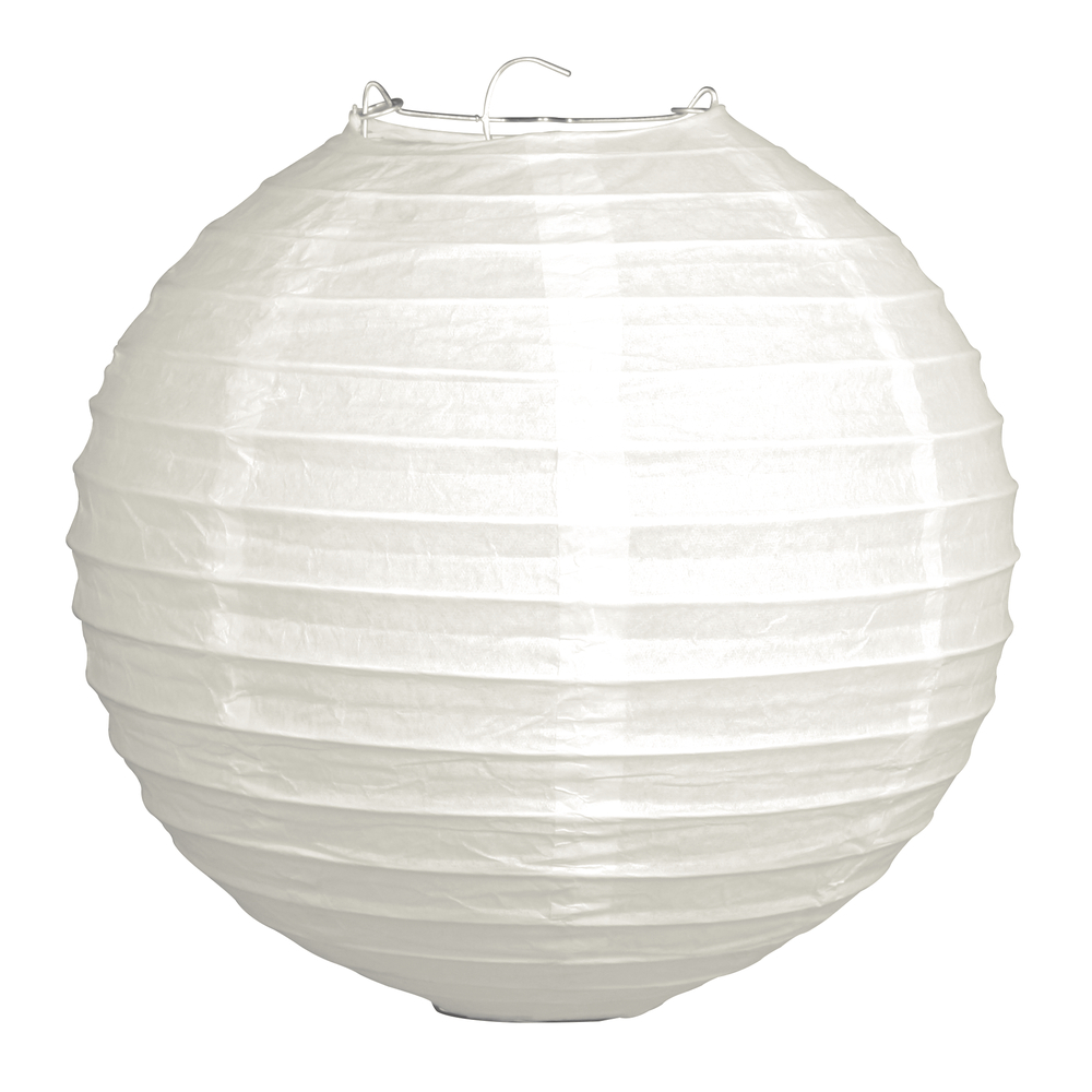 Papierlampion, 20cm ø, m. Metallgestell, Beutel 2Stück, weiß