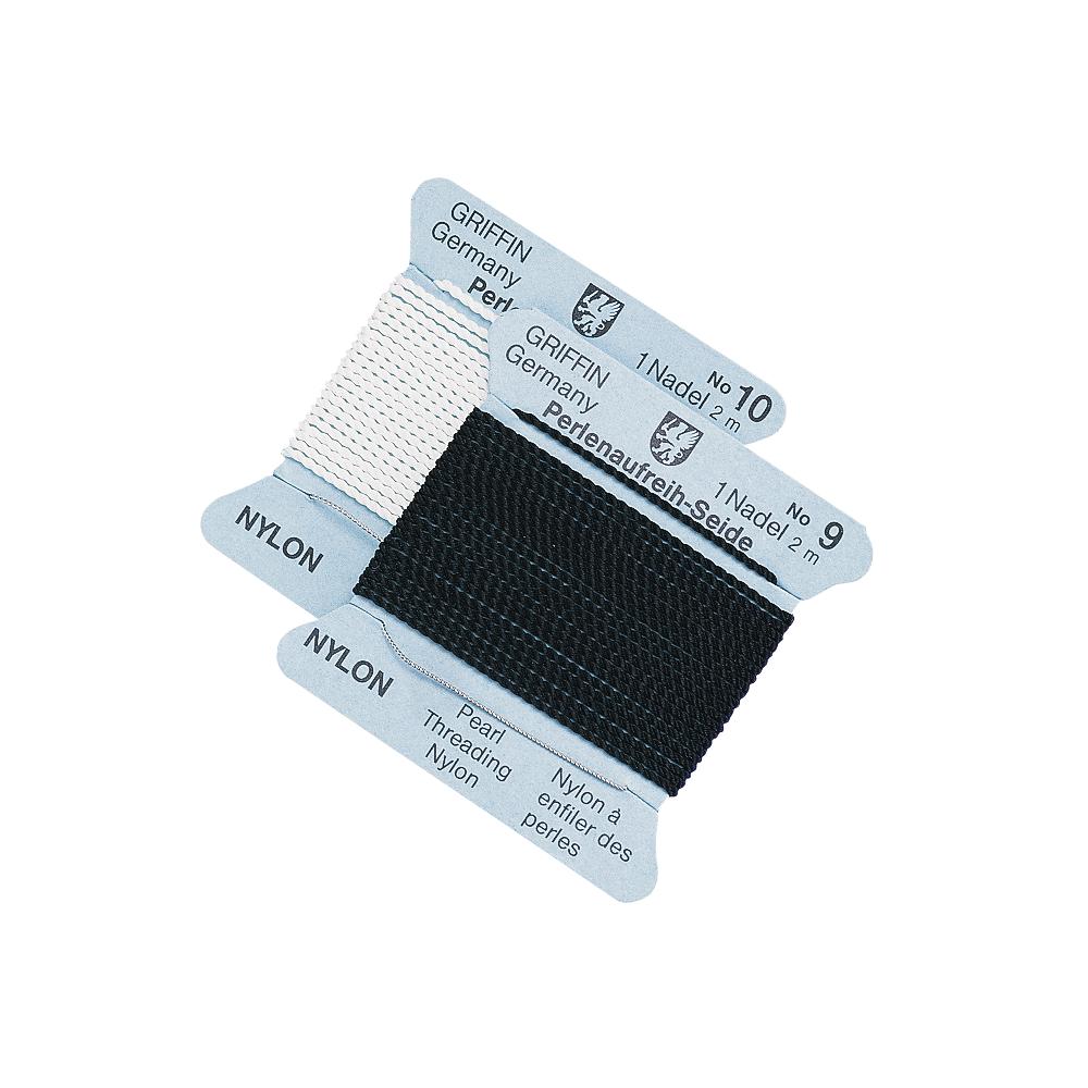 Perlen-Aufreihseide, Nylon, 0,5mm ø, 1 Nadel, Nr. 3, Karte 2m